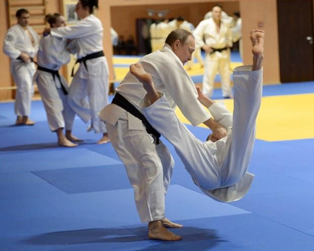Vladimir Putin v zápale zápasu